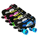 NEW Atom Jackson Rave Hybrid Indoor and Outdoor Roller Derby Skate - Available in 5 Vibrant Color Options - Free Devaskation Bracelet - Black/Blue Skate - Blue Poison Savant Wheels - Size 8