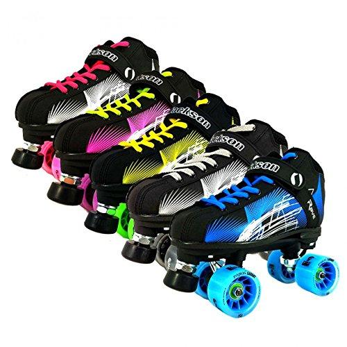 NEW Atom Jackson Rave Hybrid Indoor and Outdoor Roller Derby Skate - Available in 5 Vibrant Color Options - Free Devaskation Bracelet - Black/Blue Skate - Blue Poison Savant Wheels - Size 8 by ATOM
