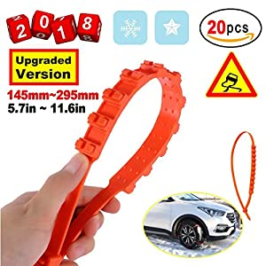 Anti-Skid Chains Snow Chains New Universal Emergency Anti-Slip Tire Belting Straps Cable Traction Wire for Car/SUV Winter Tyres Wheels Aid Autocross Outdoor in Snow Ice Mud Situation(20Pcs)