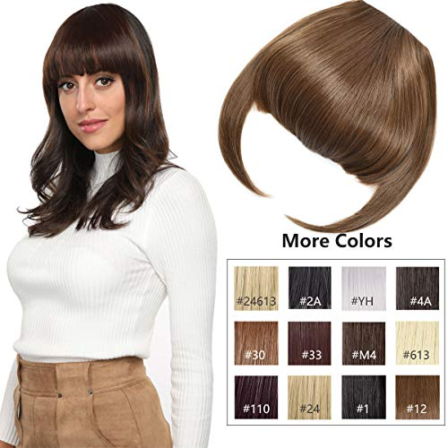 Clip in Bangs Fringe Hair Extensions with Temples Fashion Hair-pieces Light Brown (Best Clip In Bang Extensions)