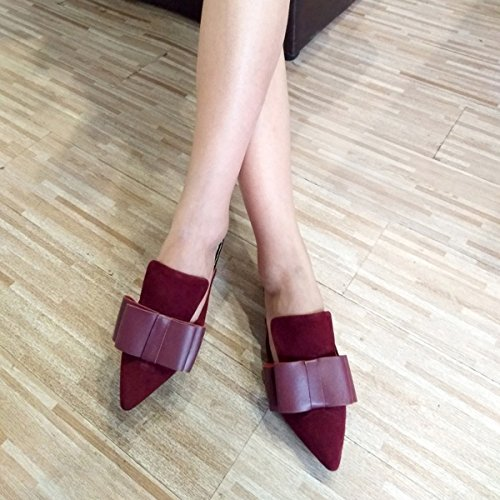 Women Loafers Slippers Loafers Dark Slip On for Mavirs Womens Backless Mule Red Suede Loafers Bow Embellished qEOgIgwF