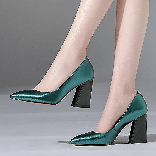 AJUNR cabeza Cyan zapatos alto Tacon Zapatos Transpirable de Treinta Sandalias elegante nueve de zapatos tacon Poca boca 9cm Solo y los 39 grueso mujer Sharp Moda rq1Par