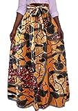 XQS Women's Summer Africa Print Bow Tie Waist A Line Skirts 4 L