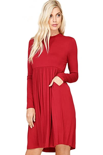 83175fe7402 Annabelle Women s Classic High-Neckline Long Sleeve Pleated Babydoll Dress  With Pockets Dark Red Small