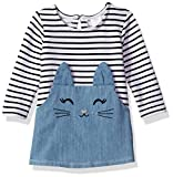 Youngland Baby Girls' Stripe Denim Cat Face Tunic Dress, Denim/Multi, 12M