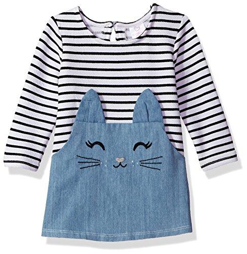 Face Dress (Youngland Baby Girls' Stripe Denim Cat Face Tunic Dress, Denim/Multi, 18M)