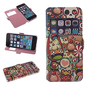 Big Dragonfly Iphone 5 5S Pu Leather Phone Case Cover with Candy Monster Pattern & Built-in Stand & Magnetic Button & Transparent Time Window Viewer (Colorful)