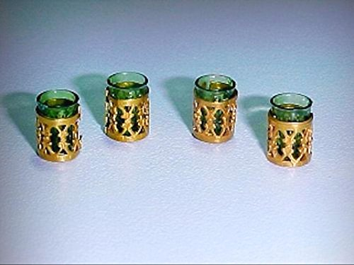 Dollhouse Miniature Emerald Green Filigree Tumbler Set Miniatures for Doll House - My Mini Garden Dollhouse Accessories for Outdoor or House Decor