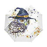 WOZO Watercolor Owl with Witch Hat Halloween 3 Folds Auto Open Close Umbrella