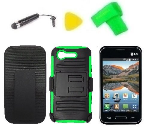 Belt Clip Holster w Kickstand Heavy Duty Hybrid Phone Case Cover Cell Phone Accessory + Extreme Band +