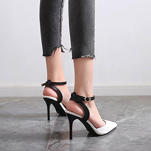 Vivioo Kvinder-sandaler Med Højhælede Sandaler Højhælede Sko Højhælede Damer-fine Med Spidse Hule Rem Sandaler Fodtøj Sko Sort Hvid 9cm Vj2JIXryF