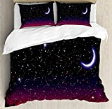 Ambesonne Night Duvet Cover Set Queen Size, Red Sky at Night with Starry Landscape and Mountains Astrology Astronomy, Decorative 3 Piece Bedding Set with 2 Pillow Shams, Indigo Magenta Black