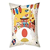 iPrint Polyester Throw Pillow Cushion Cover,Lantern,Japanese Inspired Commercial Pattern Various Asian Culture Items Cool Cat Origami,Multicolor,Decorative Square Accent Pillow Case