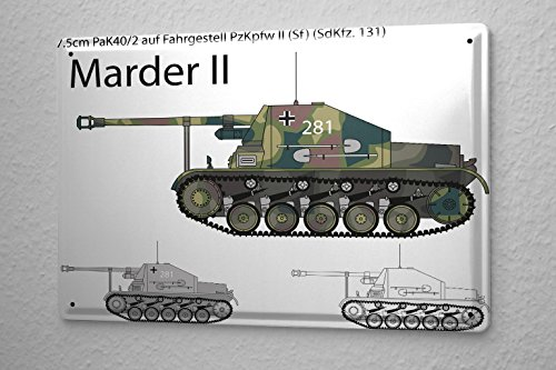 LEotiE SINCE 2004 Tin Sign Nostalgic Marder II Tank