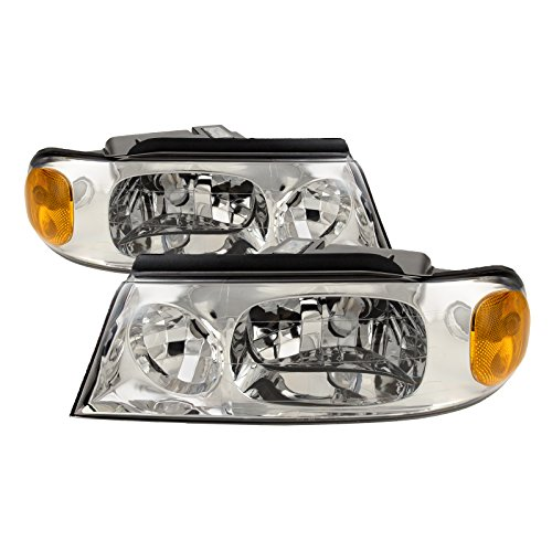 (PERDE Compatible with Lincoln Navigator Chrome Housing Headlights Headlamps Performance Lens)
