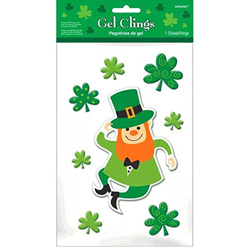 Amscan Leprechaun Clover Window Gel Clings 8 pieces (Decorations Window Gel)
