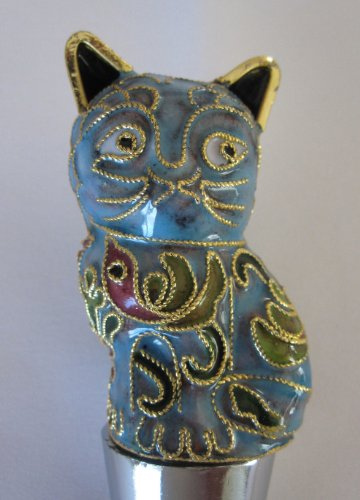(Chinese Beijing Cloisonne Pale Turquoise Cat Wine Bottle Stopper - We offer 10 different colors in this style cat wine stopper.)
