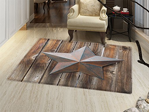smallbeefly Primitive Country Door Mats Area Rug Antique Rusty Star Figure on the Weathered Wooden Planks Vintage Retro Image Floor mat Bath Mat for tub Brown