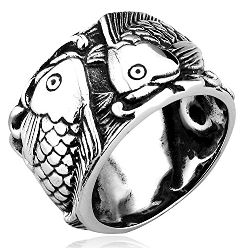 Silver Ebay Rings (LILILEO Jewelry Stainless Steel Ring Vintage Carp Black Silver Fish For Men's Rings)