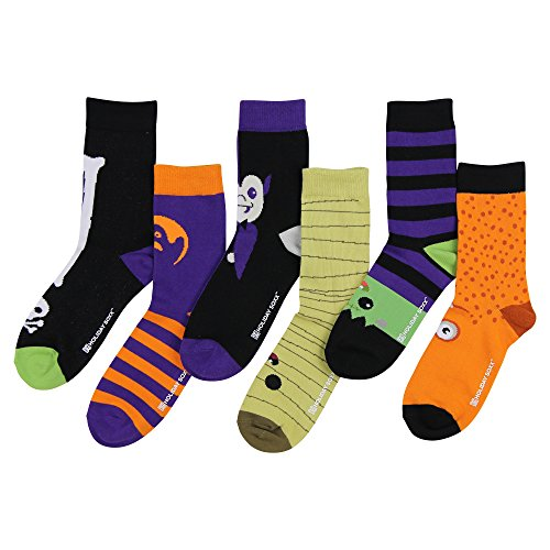 Womens Funny Funky Novelty Holiday Crew Socks (6 Pack) (Halloween