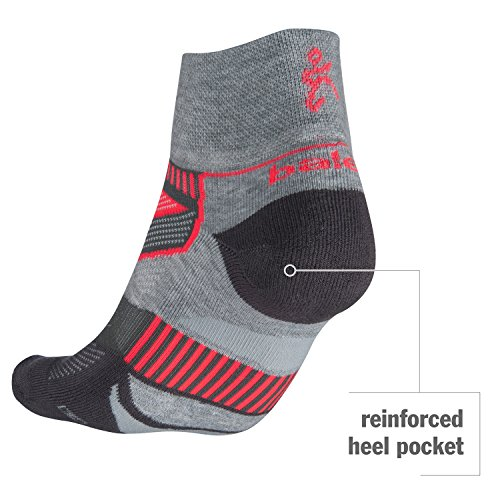Balega Enduro V-Tech Quarter Socks For Men and Women (1-Pair), Black/Heather Grey, Medium