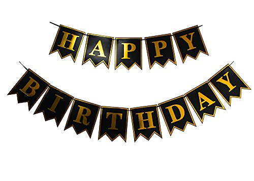 LOVELY BITON™ Large Black Happy Birthday Wall Banner, Black Party Decorations, Versatile, Beautiful, Swallowtail Bunting Flag garland Surprise (Surprise Banner)