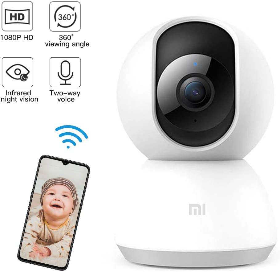Home Security IP Camera System 1080p HD Wireless Security Surveillance Camera with Auto-Cruise, Motion Tracker, Activity Alert, Night Vision, iOS, Android App - Cloud Service Available White.