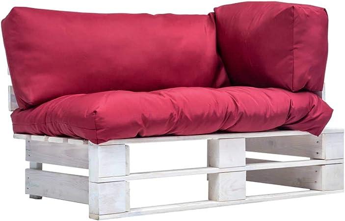 UnfadeMemory Sofa Palets Exterior de 2 Plazas y Cojines,Sofá de Jardín,Sofás de Interior,Rústico,Respaldo Extraíbles,Madera Pino FSC,110x66x65cm (Rojo y Blanco): Amazon.es: Hogar