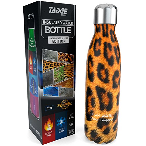 Tadge Goods Insulated Stainless Steel Water Bottle - Endangered Species Edition - Metal Thermo Style Bottles Great for Sports, Gym, Kids - Keeps Drinks Hot & Cold - 4 Sizes by Tadge Goods