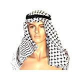 Authentic Large Middle Eastern Arab Kafiya Keffiyeh with Aqel Rope by Bethlehem Gifts TM, Black/White, Large and X-Large