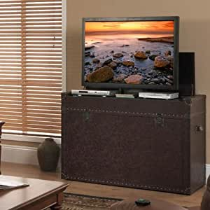 Touchstone 73007 Ellis Trunk Bedroom TV Lift Cabinet,TVs Up To 46 inches, Steamer Trunk, Whisper Lift (Cigar Leather)