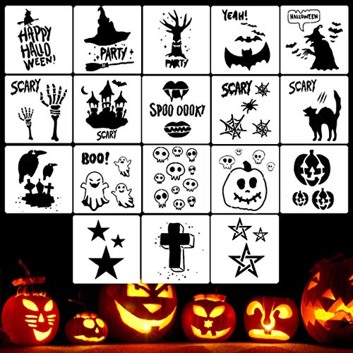 Halloween Carving Letters (Halloween Stencil Templates - 18 Pack Halloween Letter Image Stencils for Pumpkin Carving, Crafts Making and Face Painting, Reusable Plastic Stencils for Halloween Wood Signs & Decoration)
