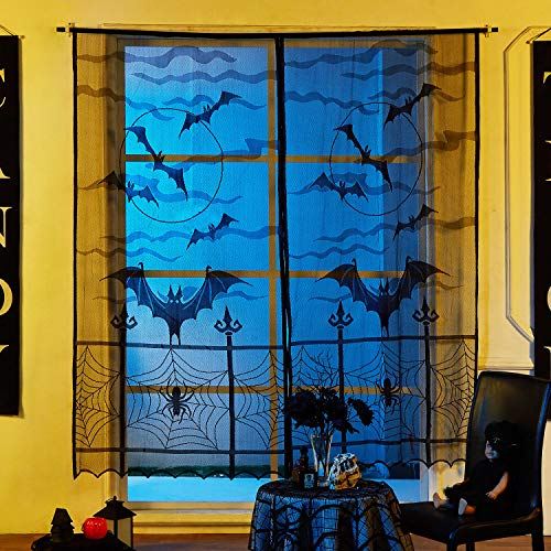 MACTING 2pcs Halloween Bats Lace Window Curtain Set, Black Spider Web Bats Door Curtain Panel Decor Halloween Party Door Window Decoration, 40 84 inch ()