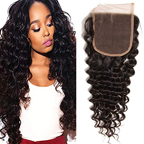 Beauty Forever Brazilian Deep Wave Hair Closure 100% Unprocessed Human Hair Deep Wave 4x4 Free Part Lace Closure, Can be Dyed and Bleached (14'' closure)