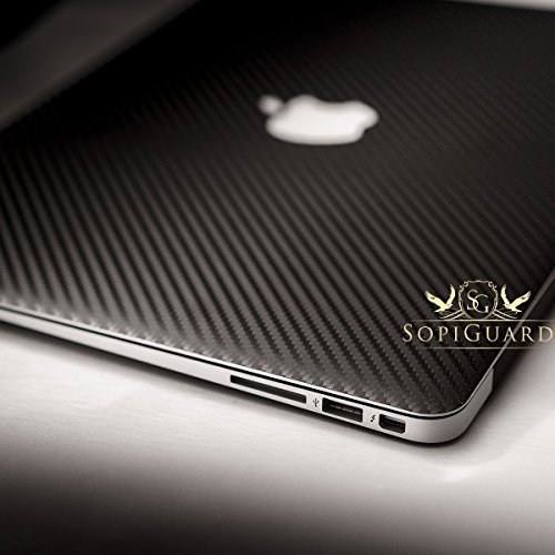 SopiGuard Black Carbon Fiber Full Body Vinyl Skin for Apple Macbook Pro 13 Non-Retina