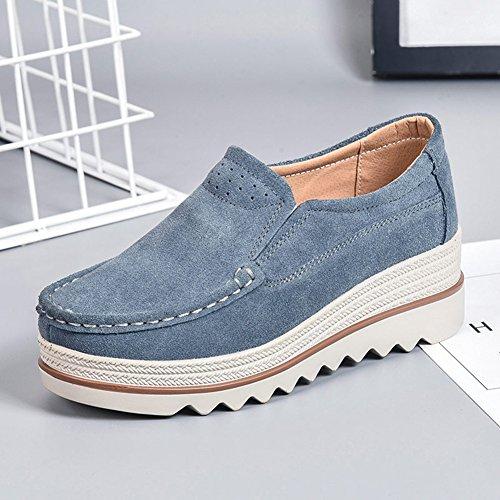CAI Zapatos de Mujer Zapatos de batido Helados Zapatos de Mujer temblorosos Casuales Suelas de Cuero Gruesas Zapatos de Madre Fondo Suave Pendiente cómoda con Zapatos de Mujer Zapatos Perezosos Gris