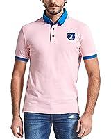 Neleus Men's Solid Color Short Sleeve Cotton Polo Shirts,627,Pink,XL,EUR Tag 2XL