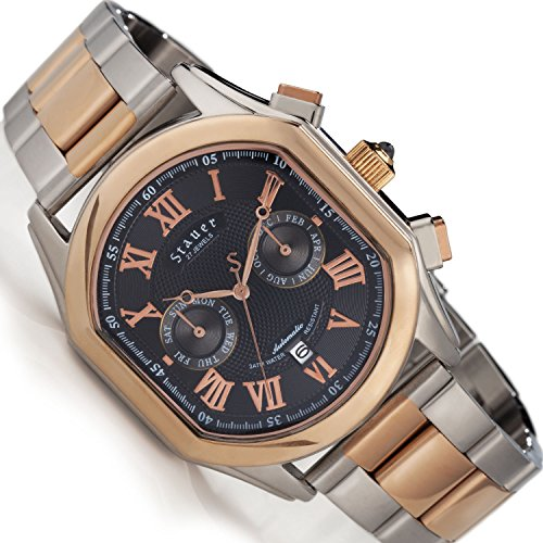 Stauer Men's Versailles Rose-Gold Finished 27 Jewel Automatic Watch with Stainless Steel Bracelet