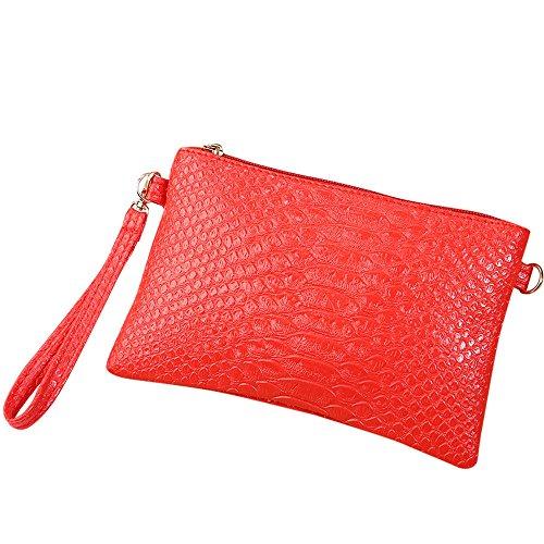Women Ladies Tote Red Bag Handbag Shoulder Pattern Crocodile ZOMUSA Purse ~B Fashion Clearance Small CRqxn5Sv