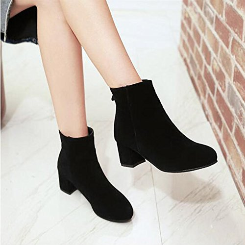 Suede Block Round Zipper Toe Back Ankle Trendy Heel Medium Faux Women's Boots Black Aisun 0wxSCqt0