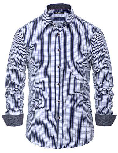 PAUL JONES Men's Western Plaid Shirt Long Sleeve Button Down Casual Shirt Blue, Medium ()