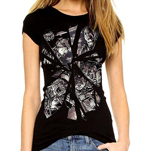 Horror Movie Shattered espejo auténtica Darkside Freddy Jason Chucky para mujer T shirt