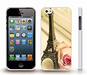 Case For Htc One M9 Cover with Eiffel Tower Miniature and Rose, Photo, Close-up , Snap-on Cover, Hard Carrying Case (White)
