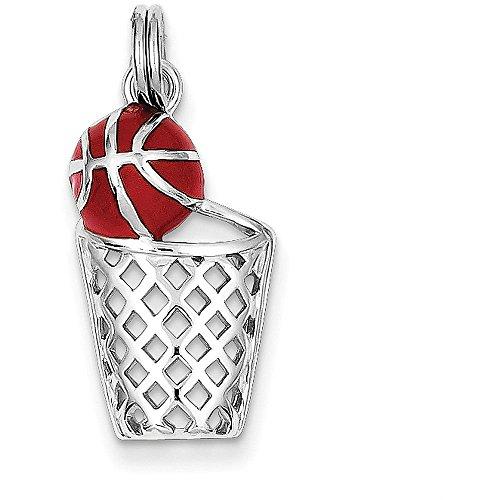 Sterling Silver Enamel Basketball & Hoop Charm - (0.83 in x 0.47 in) (Charm Basketball Enamel)