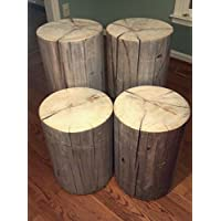 Rustic Weathered Gray Poplar Stump Table ~ Bedside Table Sofa Table Bar Stool Stump Stool - 8-9 diameter Custom Heights Available - 8-17 Tall