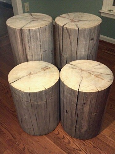Rustic Weathered Gray Poplar Stump Table ~ Bedside Table Sofa Table Bar Stool Stump Stool - 8-9