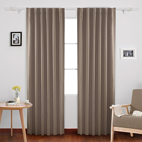 Deconovo Solid Back Tab and Rod Pocket Curtains Room Darkening Panels Blackout Thermal Insulated Curtains for Bedroom 52x84 Inch Khaki 2 Drapes