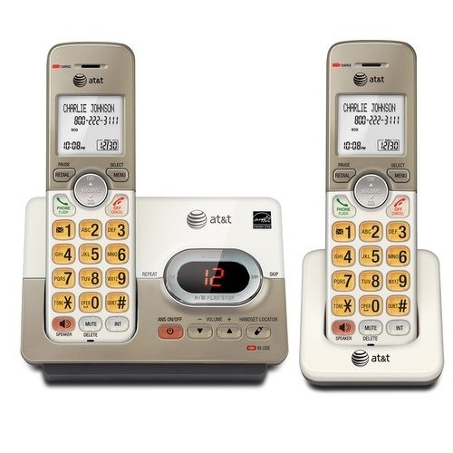 AT&T EL52213 DECT 6.0 Phone Answering System with Caller ID/Call Waiting, 2 Cordless Handsets, Silver