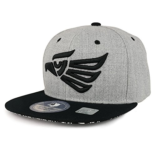 Trendy Apparel Shop Hecho EN Mexico Eagle 3D Embroidered Snapback Cap - Heather Black Black 3d Embroidered Hat