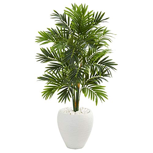 (MISC Green Areca Palm Tree Artificial Plants Tropical Indoor Palmtree in Planter Floral Dypsis Lutescens Botanical Arecaeae Butterfly Palm Golden Cane Plant 4-Foot Traditional White, Polyester)